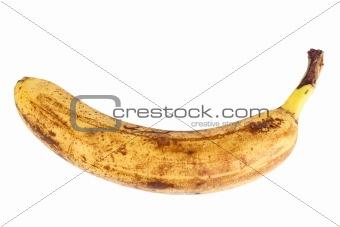 Single old yellow banana