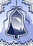 Christmas landscape and bell