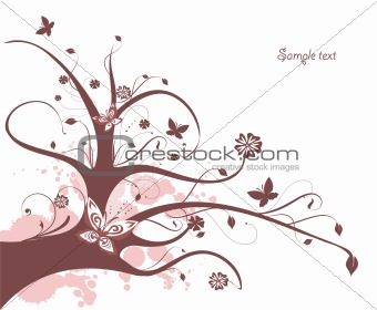 Floral design with flowing tree