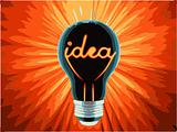 vector bulb, which represents the birth of the idea