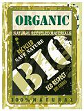 Organic Distressed Bio Label with Green Eco motive