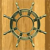 vector bronze wheel on a wooden board