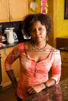 African-American woman in kitchen