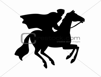 silhouette of the rider on white background