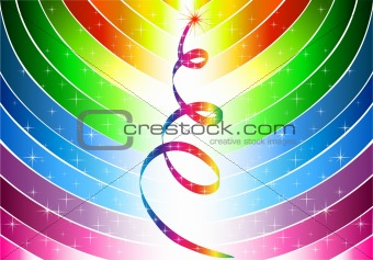 Abstract rainbow lines and colorful christmas tree