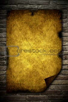 Brick wall and paper
