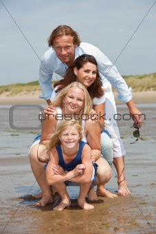 Young family by the seaside
