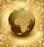 3d earth on abstract gold background. Vector