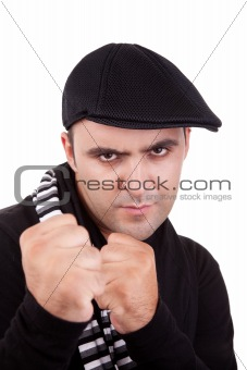 Angry man punching fist isolated on white, studio shot