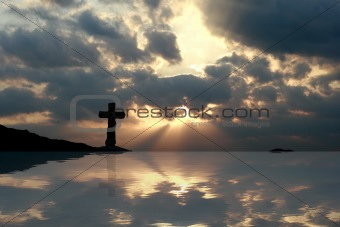 Cross in a Beautiful Sunset Reflection