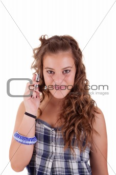 beautiful girl on the phone smiling, isolated on white background. Studio shot.