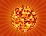 hot summer sun background in 3d