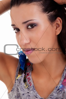 beautiful woman, holding her hair with his hand, isolated on white background. Studio shot