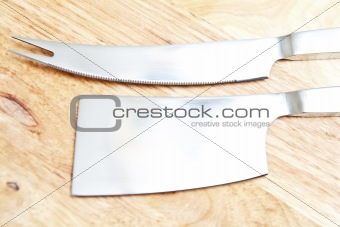 Steel cleaver and knife