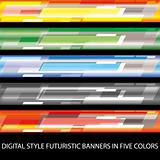 Digital style futuristic banners in five colors