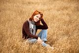 Beautiful red-haired girl at yellow autumn grass.
