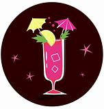 Retro-stylized cocktail illustration: Bloody Mary