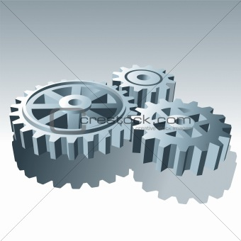 Metal Set of Operation Gears. Vector Illustration.