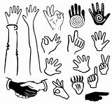 Set hands gesturing black and white silhouettes