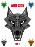 Wolf emblem in sharp futuristic style