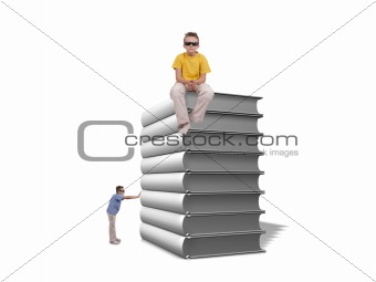 Boy pushing pile of white books over white background