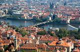 Prague Charles Bridge top view