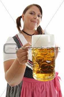 Bavarian Woman holding Oktoberfest beer in front
