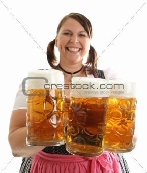 Bavarian Waitress with load of Oktoberfest Beer