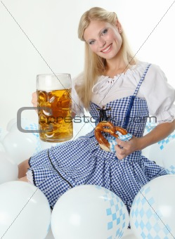 Bavarian Oktoberfest Girl cheers with Beer Mug