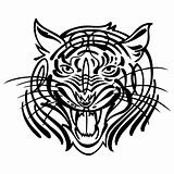 Vector head of an aggressive tiger tatoo