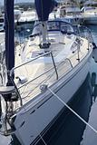 bow saiboat view white hull teak wood deck
