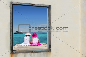 sister girls view window tropical sea turquoise