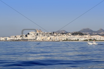 Altea from blue sea Mediterranean white village