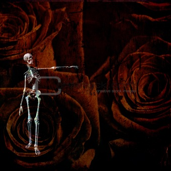 Skeletal figure and rose grunge