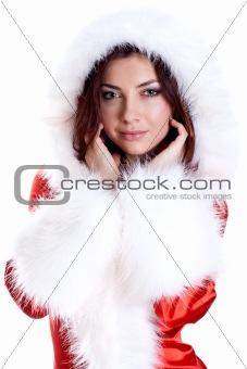 beautiful woman wearing santa claus clothes