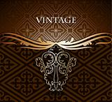 Vintage gold frame decorative background. Vector