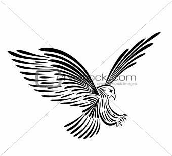 Black silhouette eagle. Vector