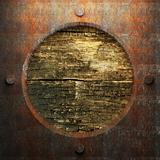 rusty metal and wood plate