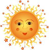 Fun Sun on white background. Vector