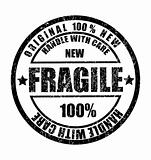 Grunge rubber stamp with the text fragile