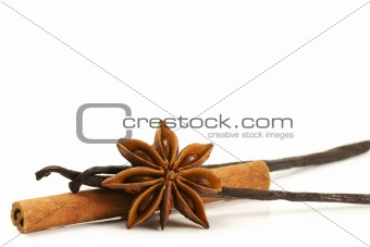 cinnamon stick star anise and two vanilla beans