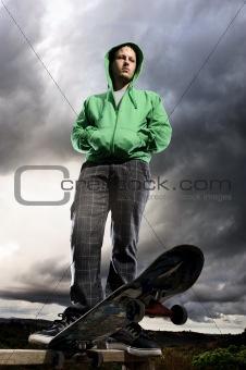 Dramatic skateboarder