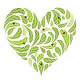 Leaves green heart shape with ladybugs for your design