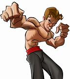 Cartoon martial art fighter