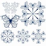 Collection blue snowflakes