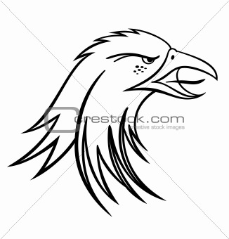 Black silhouette head eagle. Vector