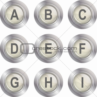 Alphabet Button - A-I