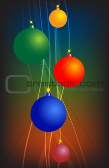 bright lines with Christmas balls