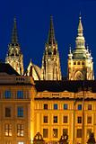 czech republic, prague - hradcany castle and st. vitus cathedral at dusk