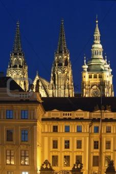 czech republic, prague - hradcany castle and st. vitus cathedral at dusk